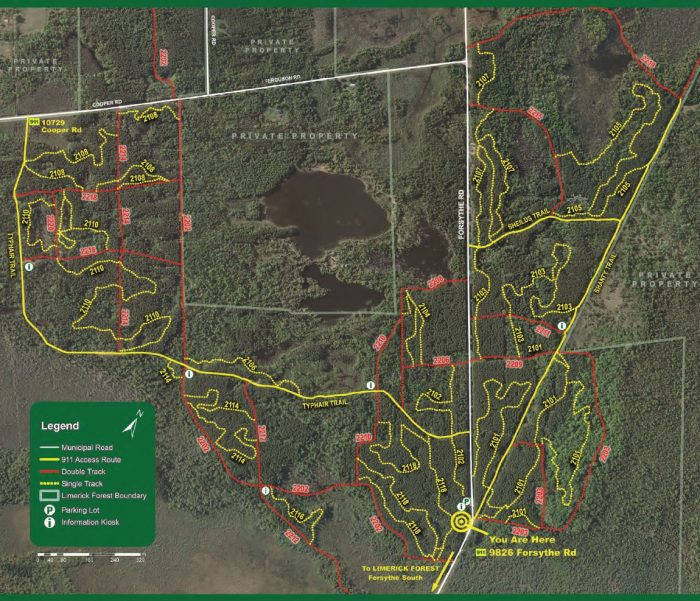 Forsythe North bike trails map