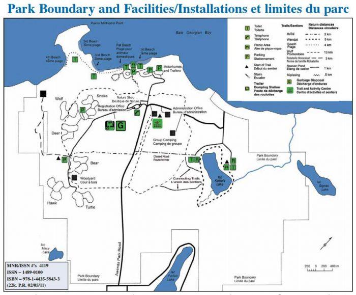 Awenda bike trail map