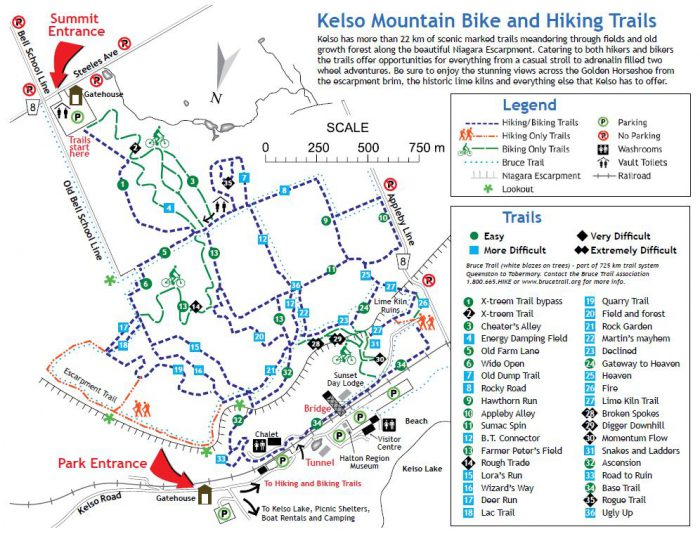 Kelso MTB trails map