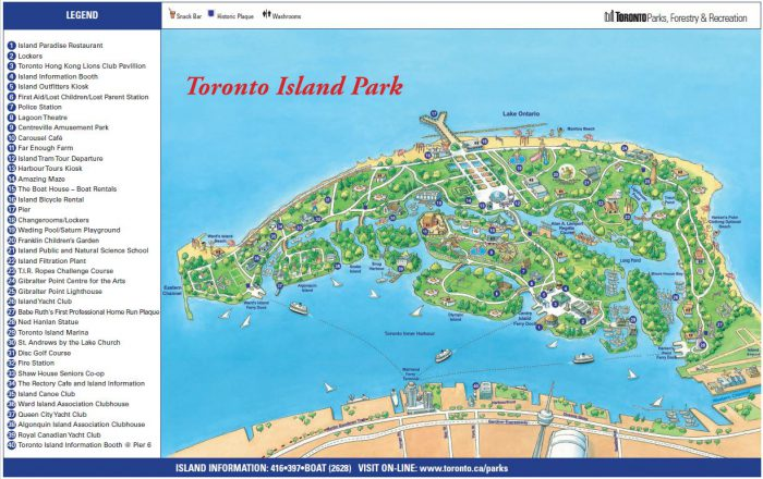 Toronto Island bike paths map