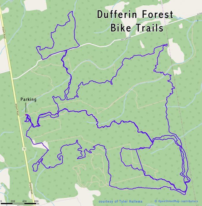Dufferin Forest Bike Trail Map