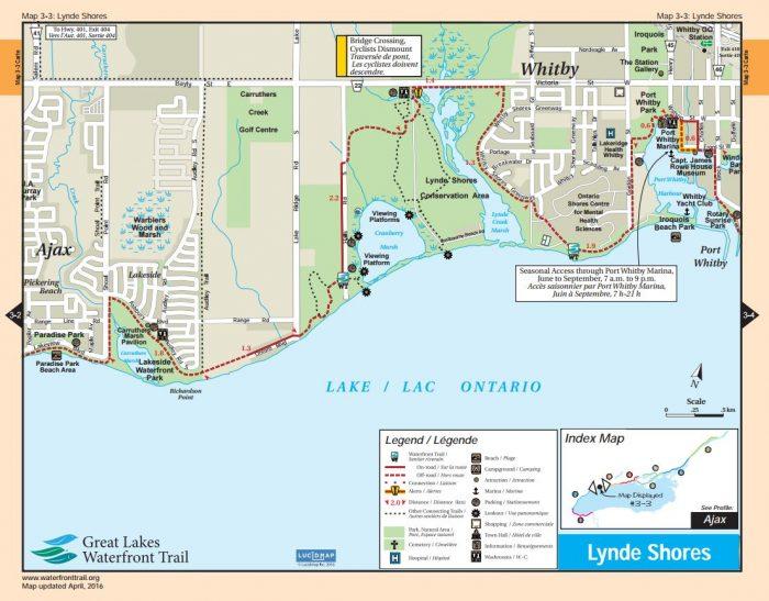 Whitby waterfront bike trail map