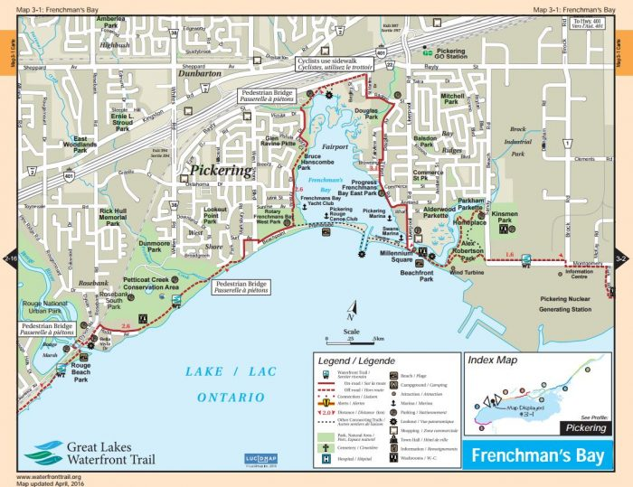 Pickering Waterfront bike trail map
