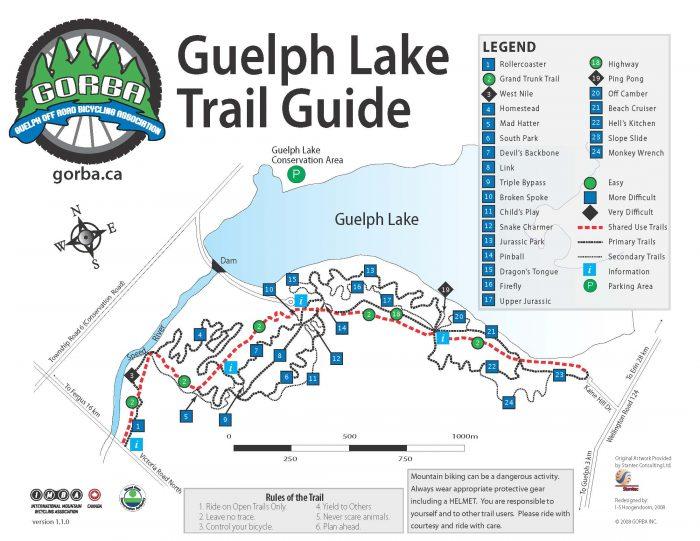 Guelph Lake bike trail map
