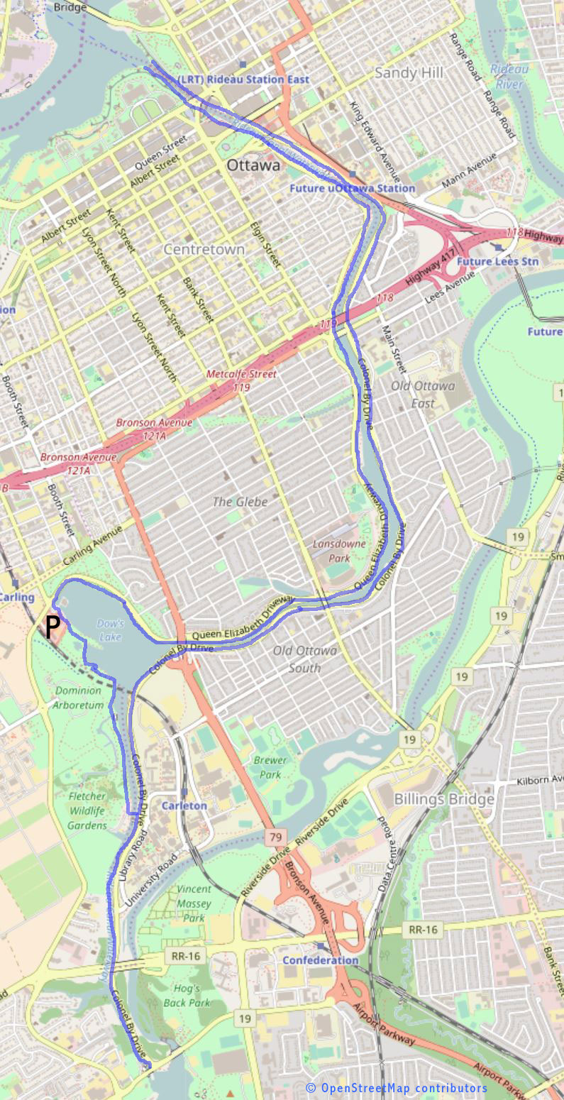 Rideau bike trail map