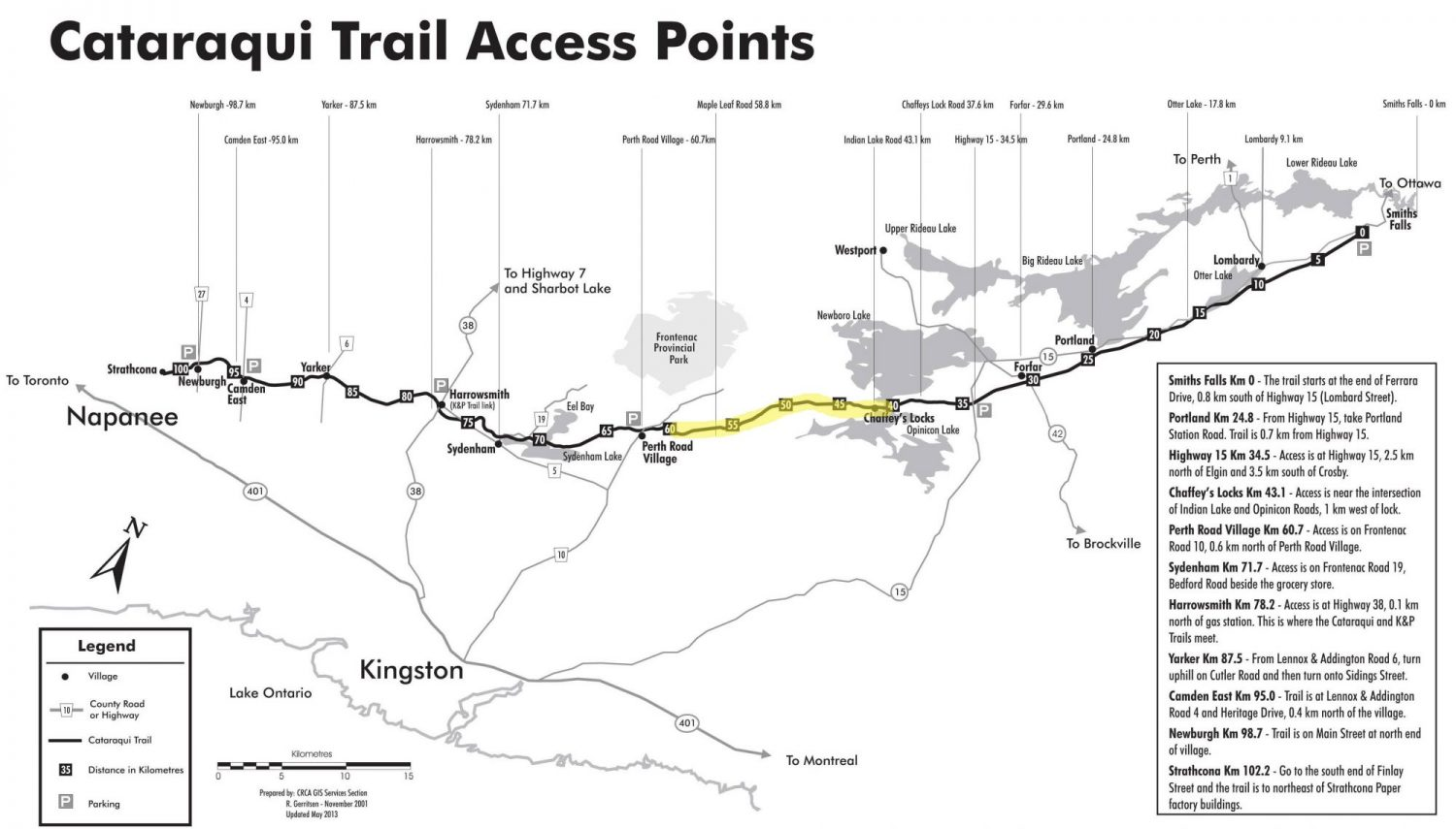 Cataraqui Rail Trail Access Points Map