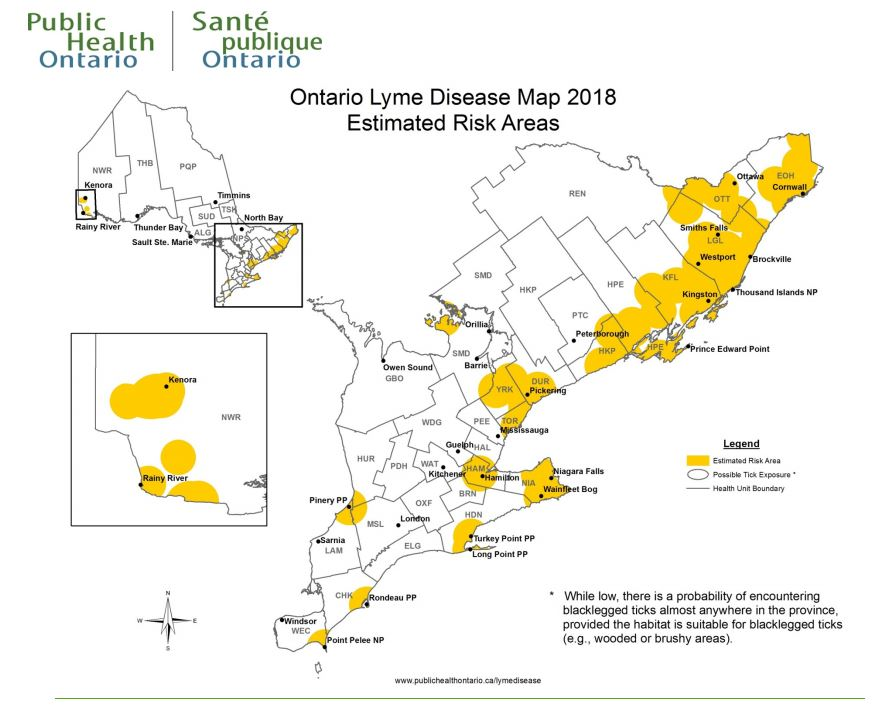 Ontario Lyme Risk map