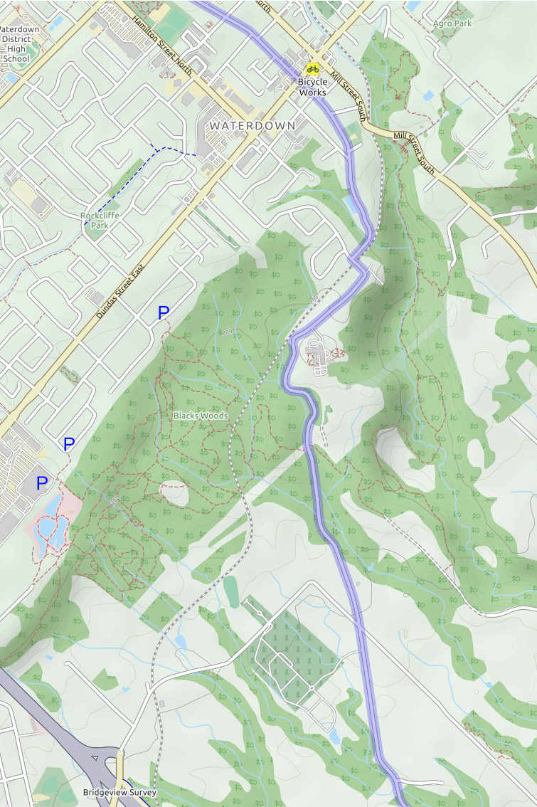 Waterdown MTB trail map