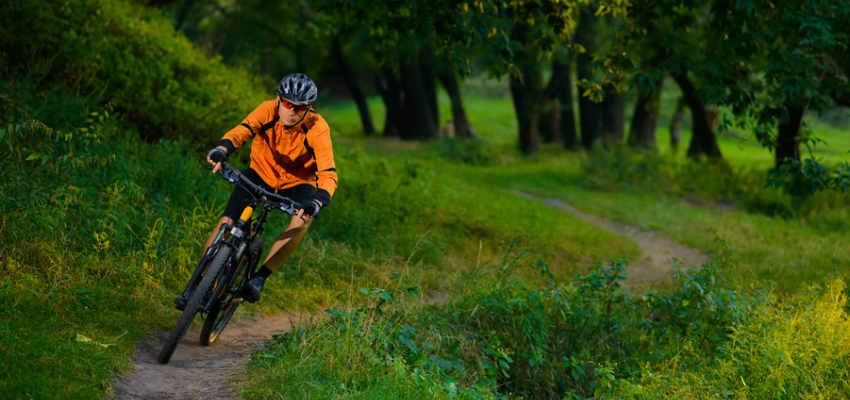 orange MTB on trail