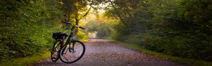 lonely bike on trail