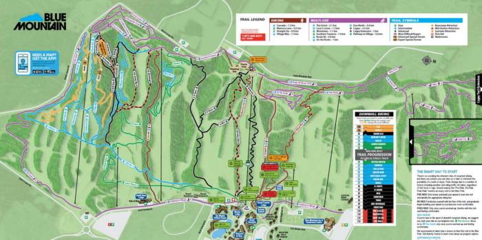 Blue Mountain MTB trail map