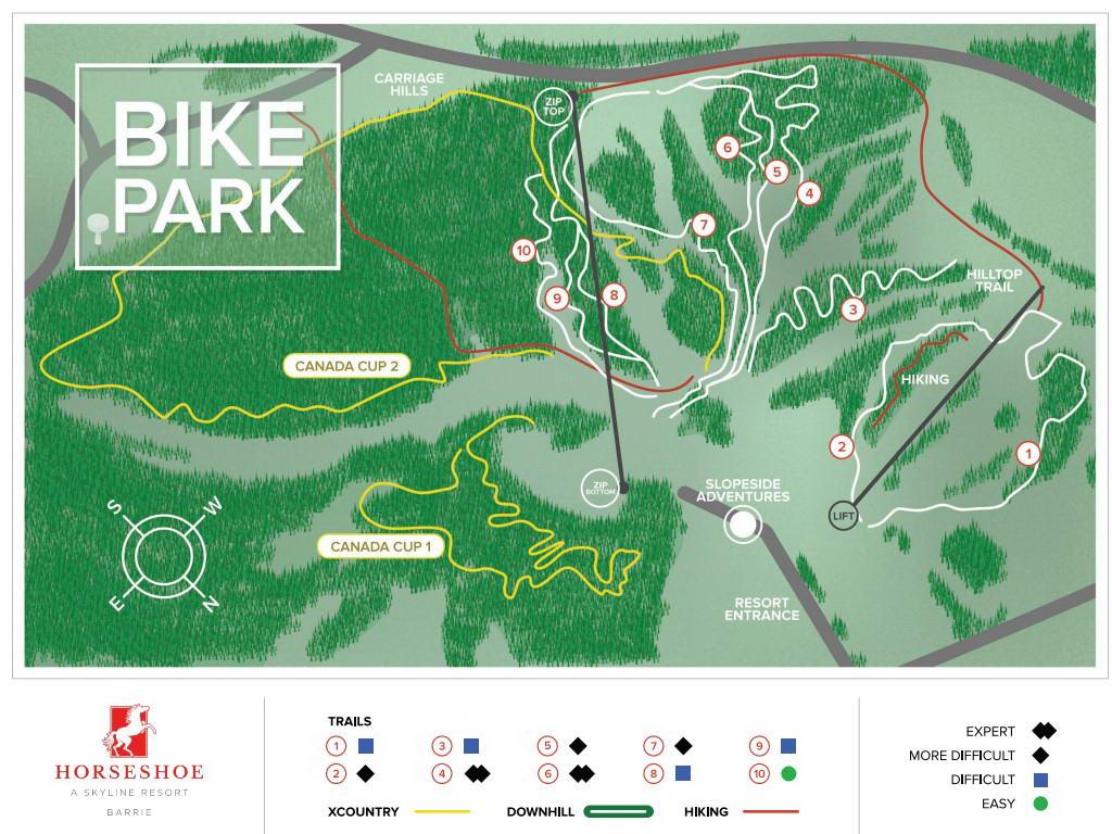Horseshoe Valley DH MTB trail map